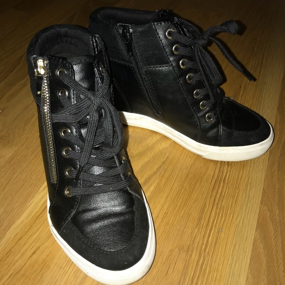f1e7dc781cdc Aldo Shoes - Black Lace-up Wedge Sneakers by Aldo Kaia